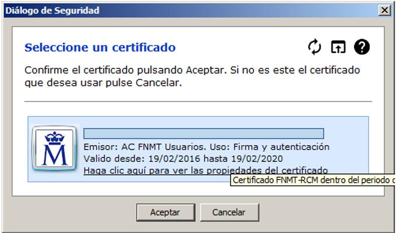 Selección de certificado